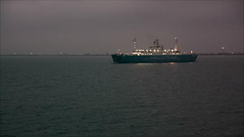 Ferry sail in the sea at night Footage