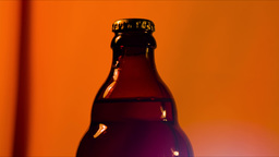 bottle with a beer closeup Footage