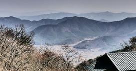 Time Lapse Of Mountains On Village In Gyeongju, South Korea. Peaceful Area stock footage