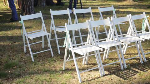 Wedding setup in garden, park. Outside wedding ceremony,…, Live Action
