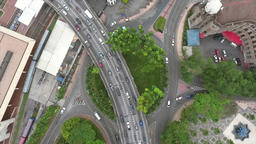 Busy Highway Road Junction in Malaysia. Aerial Fly Away View. 4K Footage