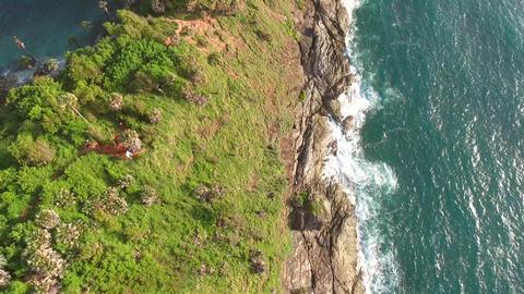 Promthep Cape. Amazing Phuket Island Natural Landscape Aerial View. Thailand. 4K Footage