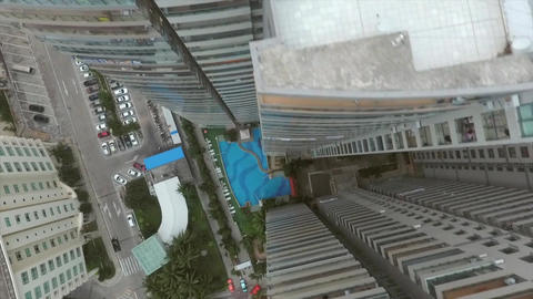 Skyscrapers and City Buildings of Sanya, China. Aerial View Looking Down from Footage