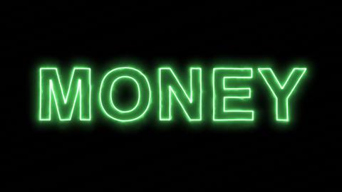 Neon flickering green text MONEY in the haze. Alpha channel Premultiplied - Animation