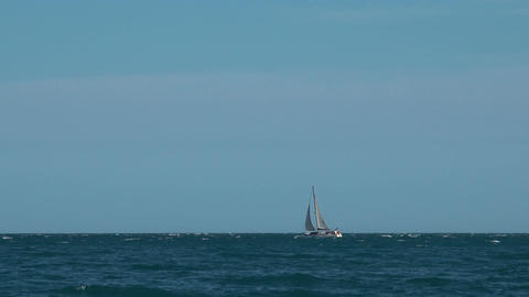 White yacht sails by the sea Image