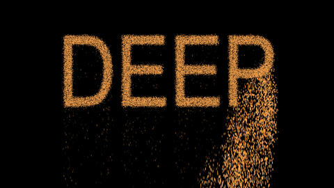 text DEEP appears from the sand, then crumbles. Alpha channel Premultiplied - Animation