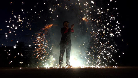 Juggler Turns Bengal Light Sparklers Around Deep at Night in Slo-Mo. it is Cool Footage