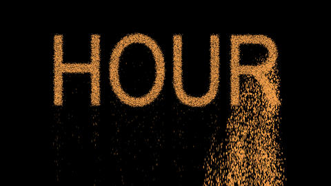 text HOUR appears from the sand, then crumbles. Alpha channel Premultiplied - Animation