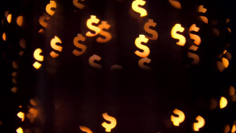 Dollar Sign Background. Beautiful Bokeh Abstract Blurry Money Currancy Symbol Footage