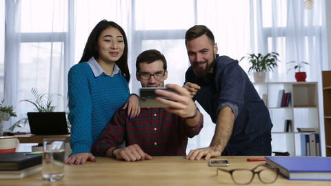 Creative business team taking selfie in the office Footage