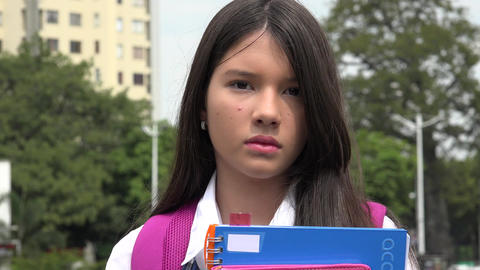 Serious Pretty Female Student Live Action