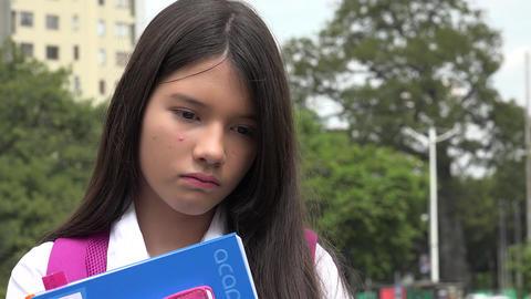 Minority Girl Student And Sadness Footage