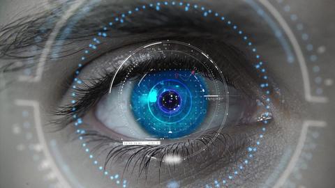 Macro blue HUD eye plan Animation