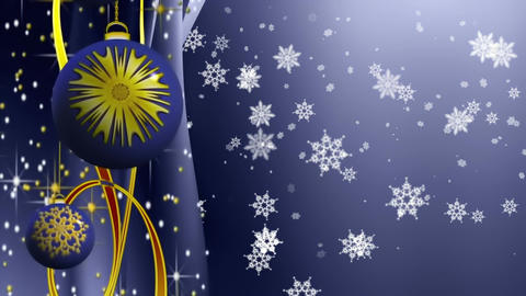 Beautiful blue and golden Christmas sparkling bulbs and ribbons with snowflakes, Animation