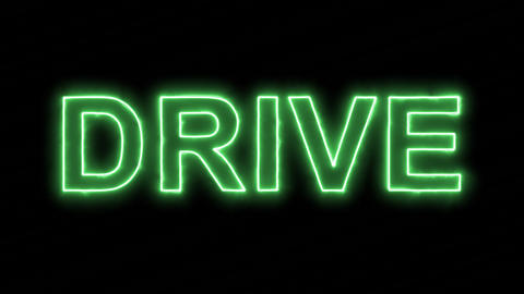 Neon flickering green text DRIVE in the haze. Alpha channel Premultiplied - Animation