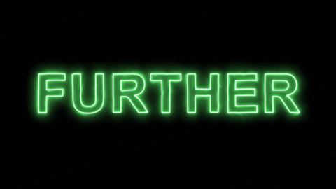 Neon flickering green text FURTHER in the haze. Alpha… Stock Video Footage