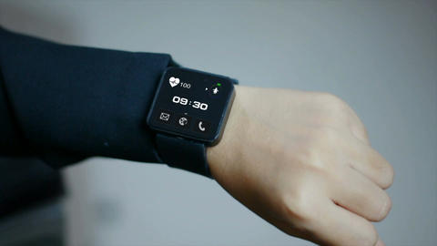 4K Close up shot hands of woman using smart watch with…, Live Action