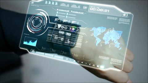 4K Close up shot hands of woman using smart watch with HUD interface for cyber Footage