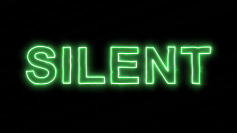 Neon flickering green text SILENT in the haze. Alpha channel Premultiplied - Animation