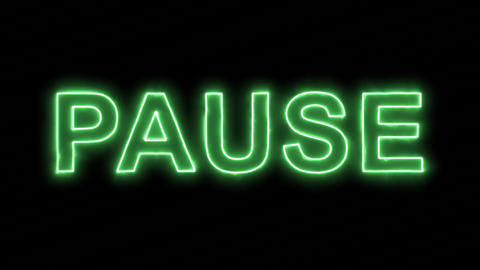 Neon flickering green text PAUSE in the haze. Alpha channel Premultiplied - Animation