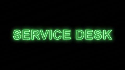 Neon flickering green text SERVICE DESK in the haze. Alpha channel Premultiplied Animation