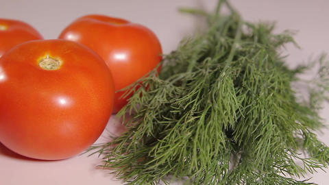 ripe tomatoes and dill Live Action