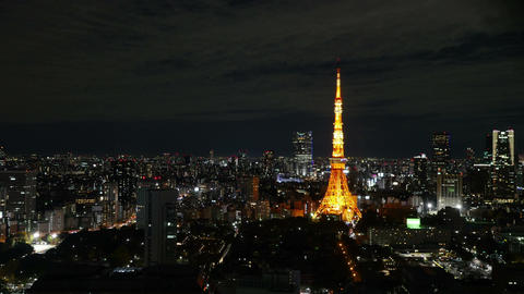 High angle nightlapse of Tokyo cityscape Footage