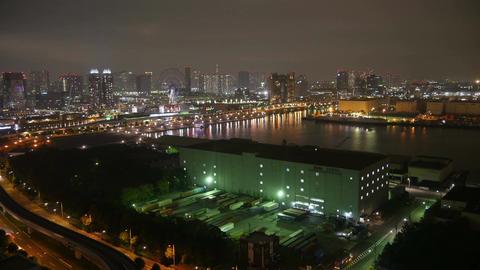 High angle timelapse of the futuristic illumination of Daiba Area Footage