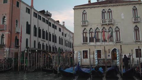 Venice Port Gondolas Tracking 4K stock footage