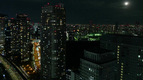 High angle timelapse of nightscape illumination over Shiodome Footage