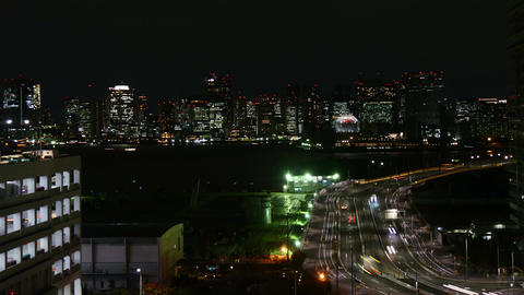 High angle nightlapse of city illumination at Tokyo Bay Area Footage