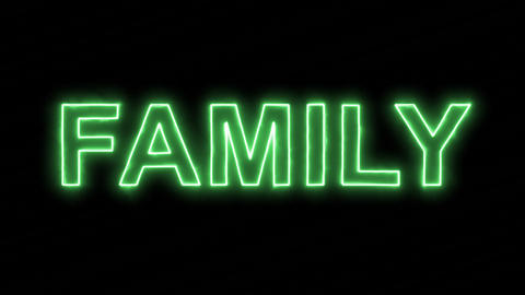 Neon flickering green text FAMILY in the haze. Alpha channel Premultiplied - Animation