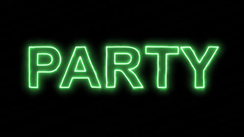 Neon flickering green text PARTY in the haze. Alpha channel Premultiplied - Animation