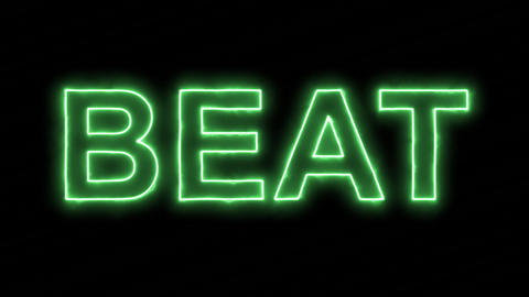 Neon flickering green text BEAT in the haze. Alpha channel Premultiplied - Animation