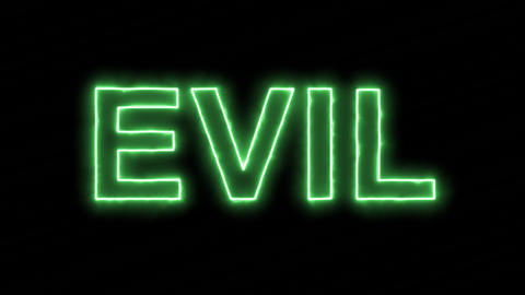 Neon flickering green text EVIL in the haze. Alpha channel Premultiplied - Animation