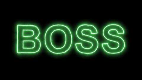 Neon flickering green text BOSS in the haze. Alpha channel Premultiplied - Animation