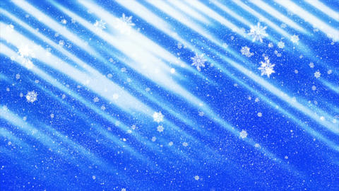 Christmas snowflakes falling on blue background, frosty day, winter snow scene Animation