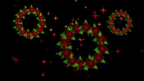 Three Starry Christmas wreaths from red poinsettia with twinkling stars Animation