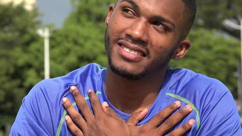 Hopeful Black Male Athlete And Love Footage