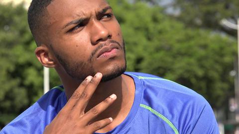 Black Male Athlete Wondering Live Action