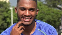 Black Male Athlete Wondering Stock Video Footage