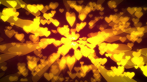 Gold hearts flying. 3D rendering Animation