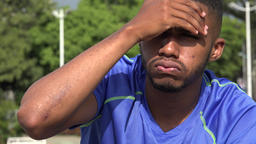 Black Male Athlete Headache Or Fever Or Tired Live Action