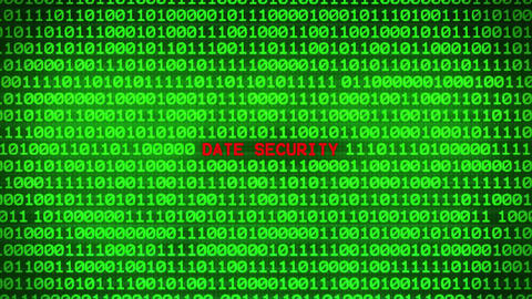 DATE SECURITY Revealing in Wall of Green Binary Code Binary Data Matrix Animation