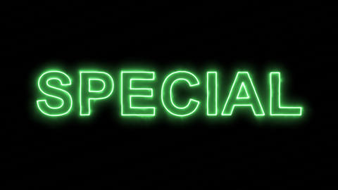 Neon flickering green text SPECIAL in the haze. Alpha channel Premultiplied - Animation