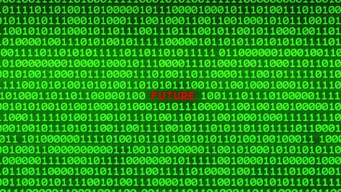 FUTURE Revealing in Wall of Green Binary Code Binary Data Matrix Background Animation