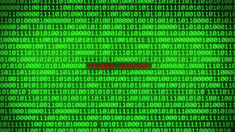 HACKER WARNING Revealing in Wall of Green Binary Code Binary Data Matrix Animation