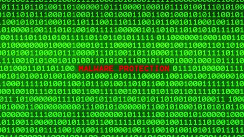 MALWARE PROTECTION Revealing in Wall of Green Binary Code Binary Data Matrix Animation
