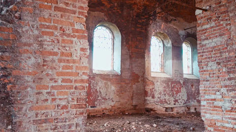 Inside an old abandoned brick building Footage