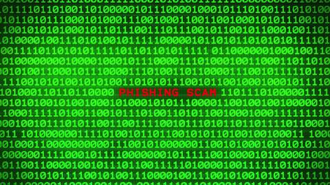 PHISHING SCAM Revealing in Wall of Green Binary Code Binary Data Matrix Animation